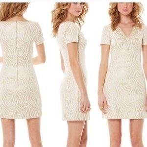 Lilly Pulitzer Gold Embroidered Mini Dress
